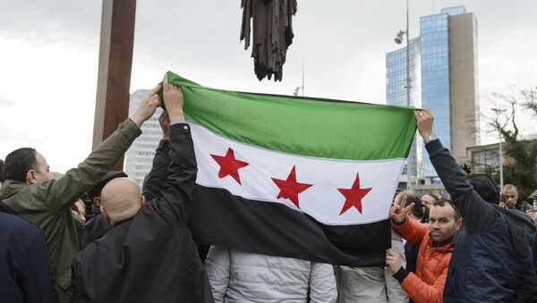 High Negotiations Committee (HNC) (Syrian opposition body) supporters hold a Syrian flag during a press conference on Syrian peace talks at the Place des Nations outside of the United Nations Offices on February 2, 2016 in Geneva. - Sputnik International