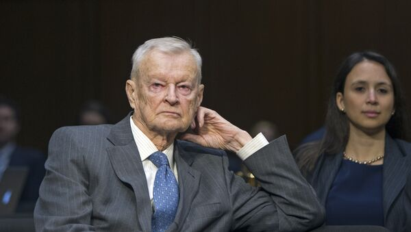 Former National Security Adviser Zbigniew Brzezinski, counselor, trustee, Center For Strategic And International Studies, waits to testify on Capitol Hill in Washington, Wednesday, Jan. 21, 2015, before the Senate Armed Services Committee's hearing to examine global challenges and US national security strategy - Sputnik International