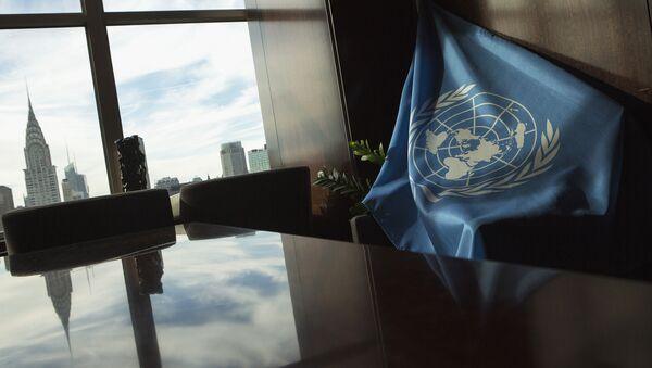 A United Nations flag is seen at U.N. Headquarters in New York September 25, 2013 - Sputnik International