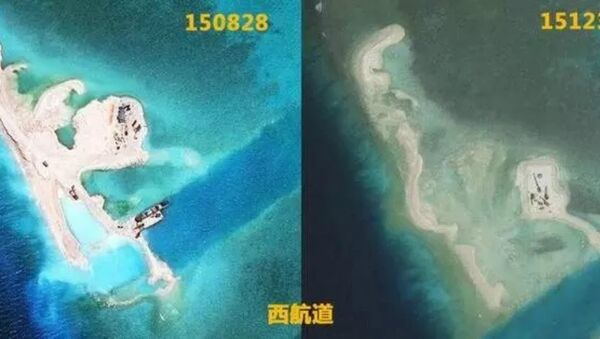 Nanhua Reef : Before (L) and after (R) the Typhoon Jamine - Sputnik International