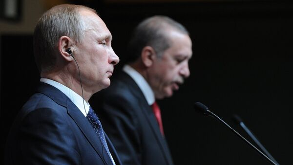 December 1, 2014. Russian President Vladimir Putin, left, and President of Turkey Recep Tayyip Erdogan at the concluding news conference in Ankara - Sputnik International