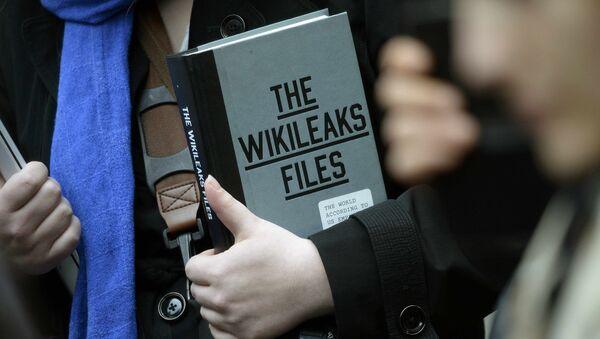 A supporter of WikiLeaks founder julian Assange holds a copy of The WikiLeaks Files outside the Ecuadorian embassy in central London, Britain February 5, 2016 - Sputnik International