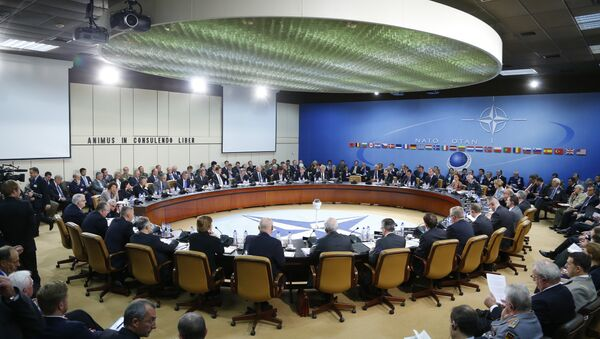 A general view of the table for a meeting of the NATO-Russia Council at the level of defense ministers at NATO headquarters in Brussels on Wednesday, Oct. 23, 2013 - Sputnik International