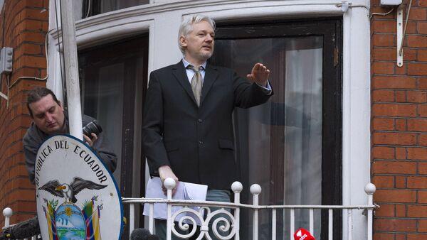 Julian Assange takes part in news conference via video link from Ecuadoran Embassy in London - Sputnik International