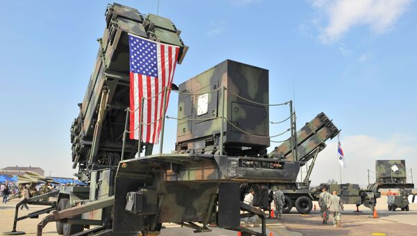 A US Army's Patriot Surface-to Air missile system is displayed during the Air Power Day at the US airbase in Osan, south of Seoul on October 12, 2008 - Sputnik International