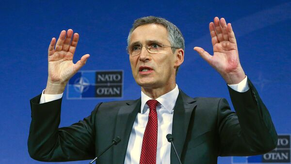 NATO Secretary-General Jens Stoltenberg gestures during a news conference ahead of a NATO defense ministers meeting, which will be held on February 10-11, at the Alliance's headquarters in Brussels, Belgium February 9, 2016. - Sputnik International