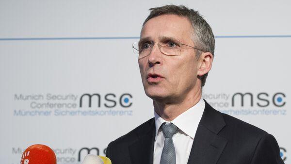 NATO Secretary General Jens Stoltenberg gives a statement on the first day of the 52nd Munich Security Conference (MSC) in Munich, southern Germany, on February 12, 2016 - Sputnik International