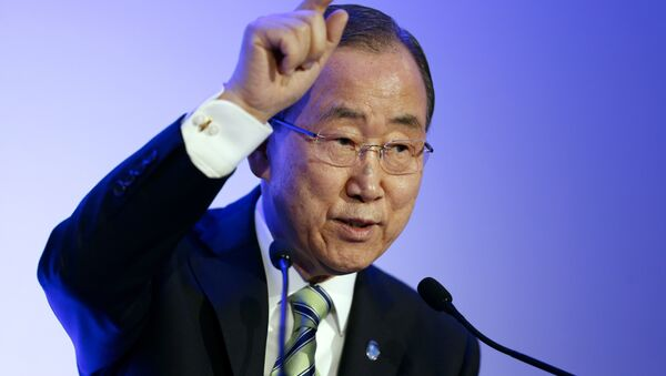 United Nations secretary general Ban Ki-moon delivers a speech during the Arctic/Svalbard presentation at the COP21 UN climate change conference in Le Bourget, northeast of Paris, on December 5, 2015 - Sputnik International