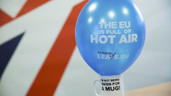 A branded balloon and mug are seen in the office of pro-Brexit group pressure group Leave.eu in London, Britain. - Sputnik International