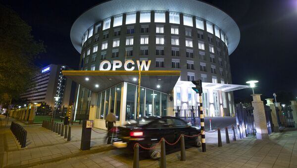 A car arrives at the headquarters of the Organization for the Prohibition of Chemical Weapons, OPCW, in The Hague, Netherlands. - Sputnik International