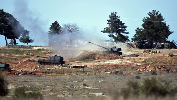 Turkish artillery fire from the border near Kilis town toward northern Syria, in Kilis, Turkey. - Sputnik International