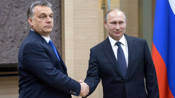 Russian President Vladimir Putin, right, and Hungarian Prime Minister Viktor Orban during a meeting at Novo-Ogaryovo residence in the Moscow Region - Sputnik International