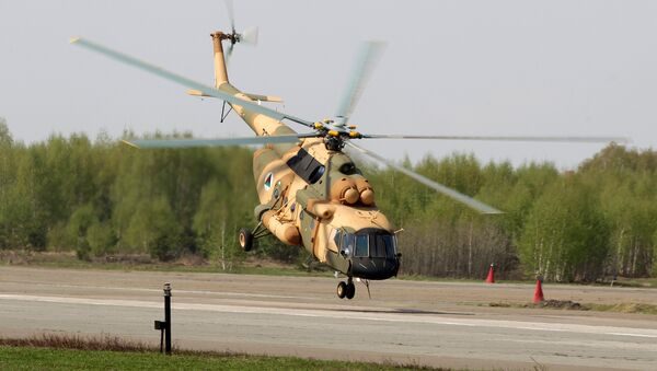 Mi-17 V-5 helicopter is demonstrated at the testing facility of the OAO Kazan Helicopter Plant - Sputnik International