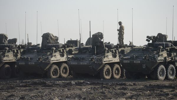US soldier of the 2nd Cavalry Regiment is seen atop a Stryker Infantry Carrier Vehicle (File) - Sputnik International