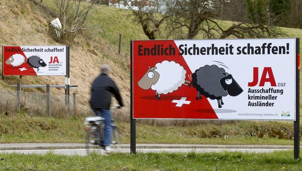 Posters of Swiss People's Party (SVP) demanding to deport criminal foreigners are displayed beside a road in Adliswil, Switzerland February 11, 2016 - Sputnik International