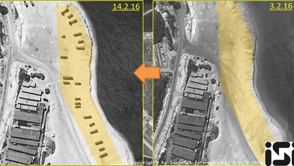 Woody Island, a island in the South China Sea occupied by China and claimed by several other countries, is shown in satellite images taken on February 14, 2016 and February 3, 2016, in this handout image provided by ImageSat International N.V. 2016, on February 18, 2016 - Sputnik International