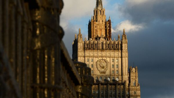 The Foreign Ministry building as seen from the Borodinsky Bridge in Moscow - Sputnik International