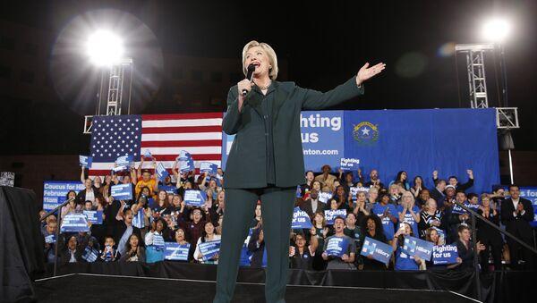 Democratic presidential candidate Hillary Clinton speaks during a rally Friday, Feb. 19, 2016, in Las Vegas - Sputnik International