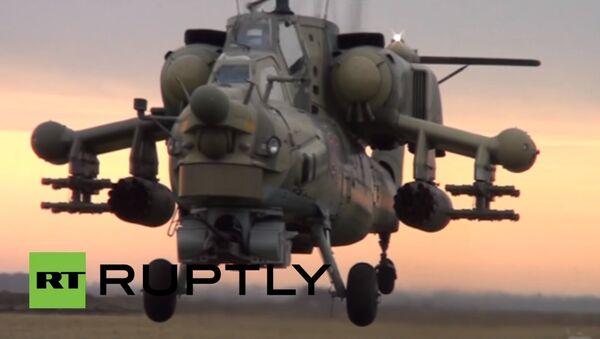 Combat helicopters flaunt their firepower in Krasnodar drills - Sputnik International