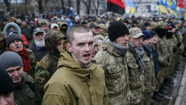 Members of self-defence battalions take part in a rally to commemorate demonstrators who were killed during the Maidan protests in 2014 in Kiev, Ukraine, February 20, 2016 - Sputnik International