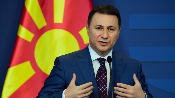 Macedonian then Prime Minister Nikola Gruevski gives a joint press conference with his Hungarian counterpart (not pictured) at the delegation hall of the parliament building in Budapest on November 20, 2015. - Sputnik International