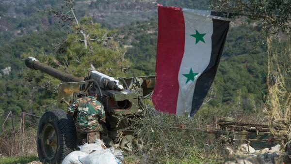 Syrian army artillery soldiers in Idlib province in northwestern Syria. file photo - Sputnik International