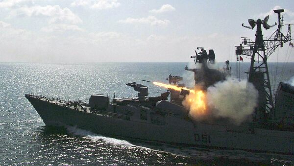 Indian Navy's warship Rajput fires rockets during a special drill in the Bay of Bengal near Paradeep, India. - Sputnik International