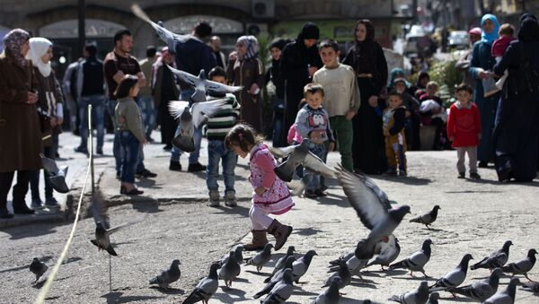 A Syrian girl chases pigeons in Marjeh Square, in Damascus, Syria, Saturday, Feb. 27, 2016 - Sputnik International