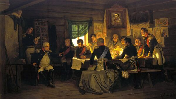 Kutuzov at the historic Fili conference, deciding to open Moscow to Napoleon. Painting by Aleksey Kivshenko - Sputnik International