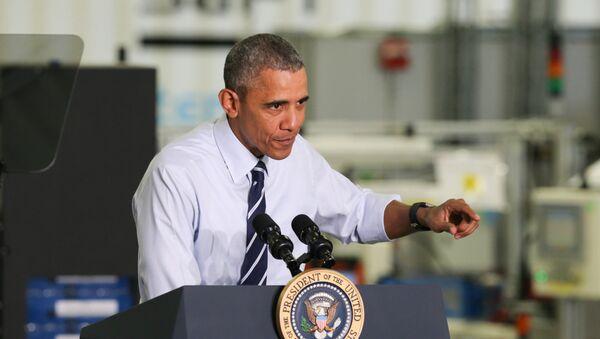 President Barack Obama speaks following his tour of the Saft America factory in Jacksonville, Fla., Friday, Feb. 26, 2016 - Sputnik International