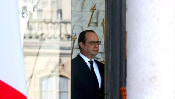 French President Francois Hollande stands in the entrance of the Elysee Palace following the weekly cabinet meeting in Paris, France, March 2, 2016. - Sputnik International