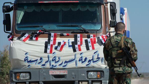 A convoy that delivered humanitarian aid, Syria - Sputnik International