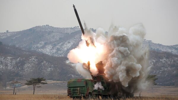 A new multiple launch rocket system is test fired in this undated photo released by North Korea's Korean Central News Agency (KCNA) in Pyongyang March 4, 2016 - Sputnik International