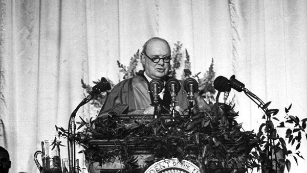 Winston Churchill, former prime minister of England, speaks at Westminster College in Fulton, Mo. March 5,1946 - Sputnik International