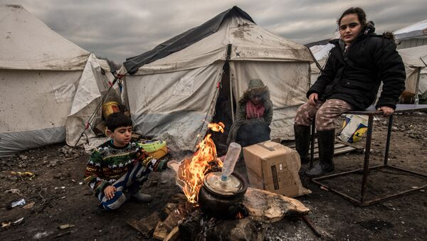 Young migrants get warm around a brazier in the migrants camp of Grande-Synthe, near Dunkirk, on January 20, 2016, where almost some 2,500 migrants and refugees live, mostly Iraqi Kurds and Syryans - Sputnik International
