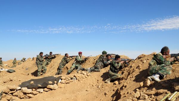 Syrian Army soldiers take positions on the outskirts of Syria's Raqqa region on February 19, 2016 - Sputnik International
