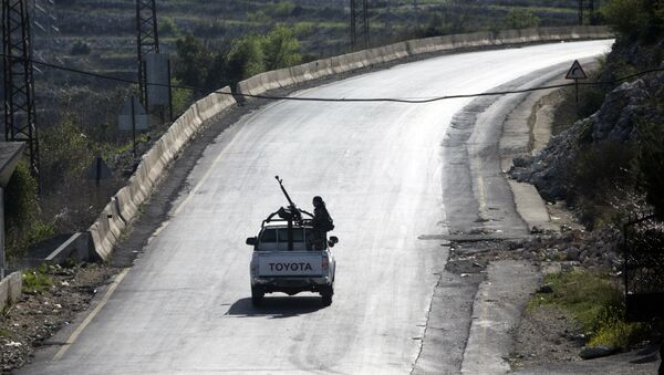 Syrian troops ride on a pickup truck with a mounted machine gun on a road near Latakia in Syria, March 2, 2016 - Sputnik International
