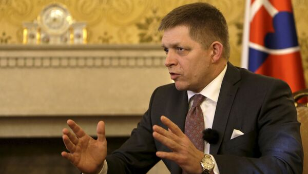 Slovakia's Prime Minister Robert Fico speaks during an interview with Reuters in Bratislava, Slovakia, February 22, 2016 - Sputnik International