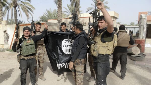 Iraqi security forces celebrate as they hold a captured flag of the Islamic State group (File) - Sputnik International