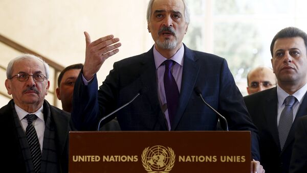Syrian government's head of delegation, Bashar al-Jaafari speaks to media after a new round of negotiations between the U.N. with U.N. mediator for Syria Staffan de Mistura (not pictured) and Syrian government at the European headquarters of the United Nations in Geneva, Switzerland March 14, 2016 - Sputnik International
