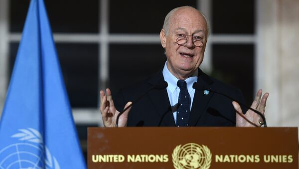 United Nations Syria envoy Staffan de Mistura speaks during a press conference in Geneva on March 15, 2016, on the second round of Syrian peace talks at the UN headquarters - Sputnik International
