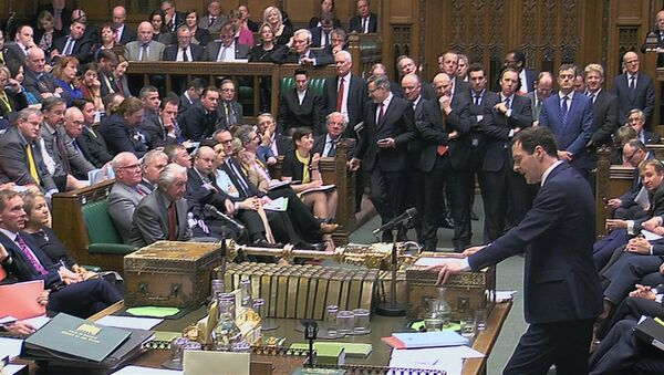 A still image taken from video shows Britain's Chancellor of the Exchequer George Osborne, presenting his Budget to the House of Commons, in central London, Britain March 16, 2016 - Sputnik International