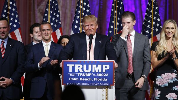 Republican presidential candidate Donald Trump speaks to supporters at his primary election night event at his Mar-a-Lago Club in Palm Beach, Fla., Tuesday, March 15, 2016. - Sputnik International