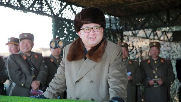 North Korean leader Kim Jong Un watches landing and anti-landing exercises being carried out by the Korean People's Army (KPA) at an unknown location, in this undated photo released by North Korea's Korean Central News Agency (KCNA) in Pyongyang on March 20, 2016 - Sputnik International
