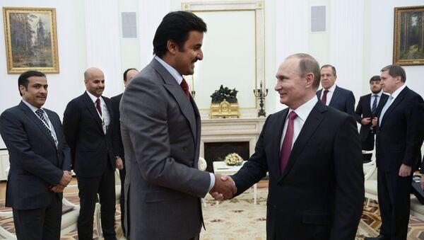 President Vladimir Putin meets with Qatar Emir Tamim bin Hamad Al-Thani. File photo - Sputnik International