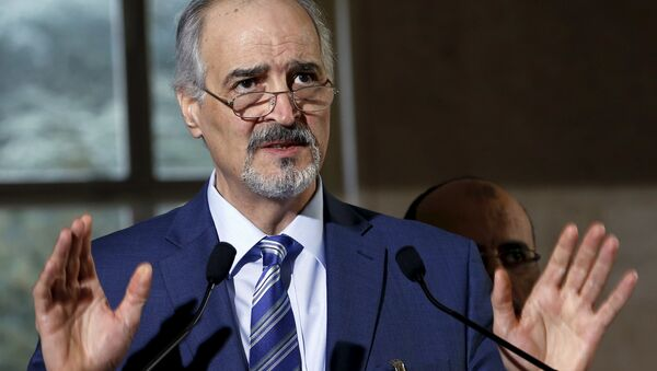 Syrian government's head of delegation, Bashar al-Jaafari attends a news conference after a meeting on Syria at the European headquarters of the United Nations in Geneva, Switzerland, March 21, 2016 - Sputnik International