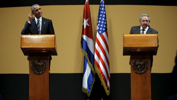 U.S. President Barack Obama and Cuban President Raul Castro attend a news conference as part of President Obama's three-day visit to Cuba, in Havana March 21, 2016 - Sputnik International