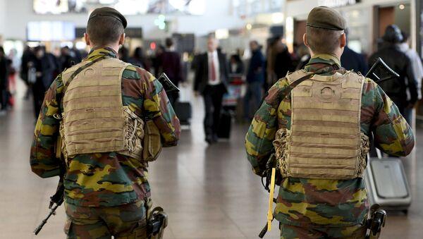 Military police soldiers patrol the Brussels Airport on in Zaventem, eastern Brussels (File) - Sputnik International