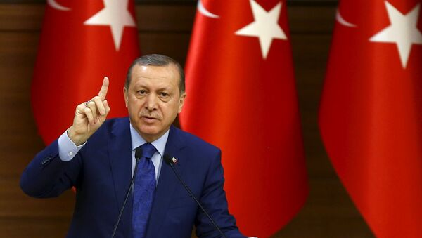 Turkish President Tayyip Erdogan makes a speech during his meeting with mukhtars at the Presidential Palace in Ankara, Turkey, March 16, 2016 - Sputnik International