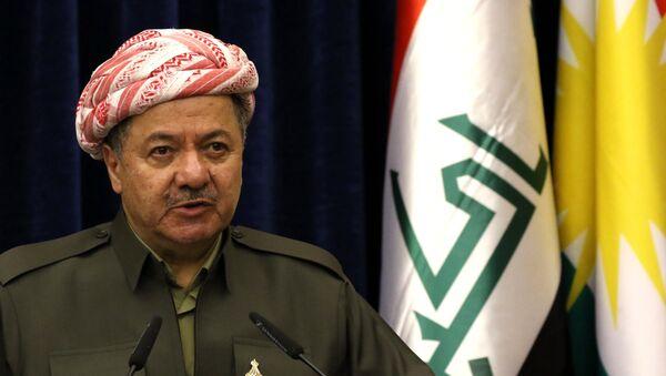 Iraqi Kurdish leader Massud Barzani speaks at a press conference during the visit of the British Foriegn Minister to Arbil, the capital of the Kurdish autonomous region in northern Iraq, on March 17, 2016 - Sputnik International
